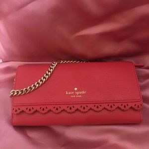 Kate Spade coral wallet with wristlet